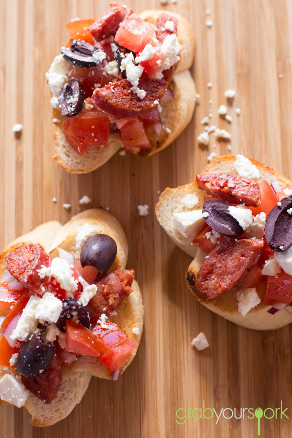 Bruschetta with chorizo, feta and kalamata olives