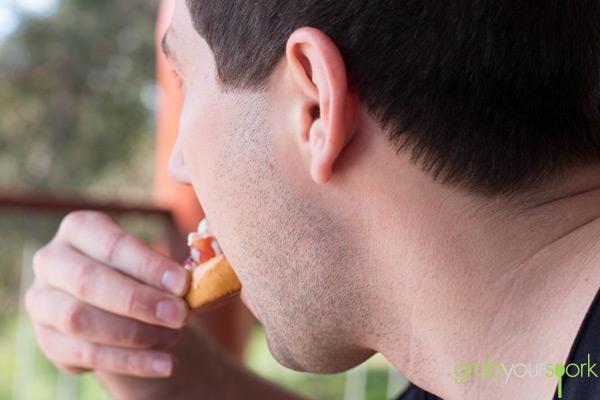 Clint eating Bruschetta