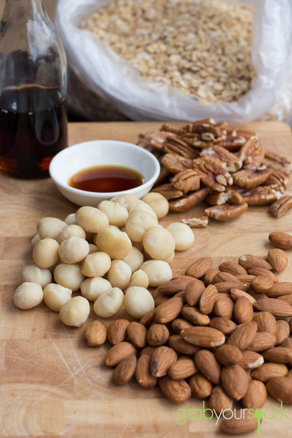 Maple Mixed Nut Granola Ingredients