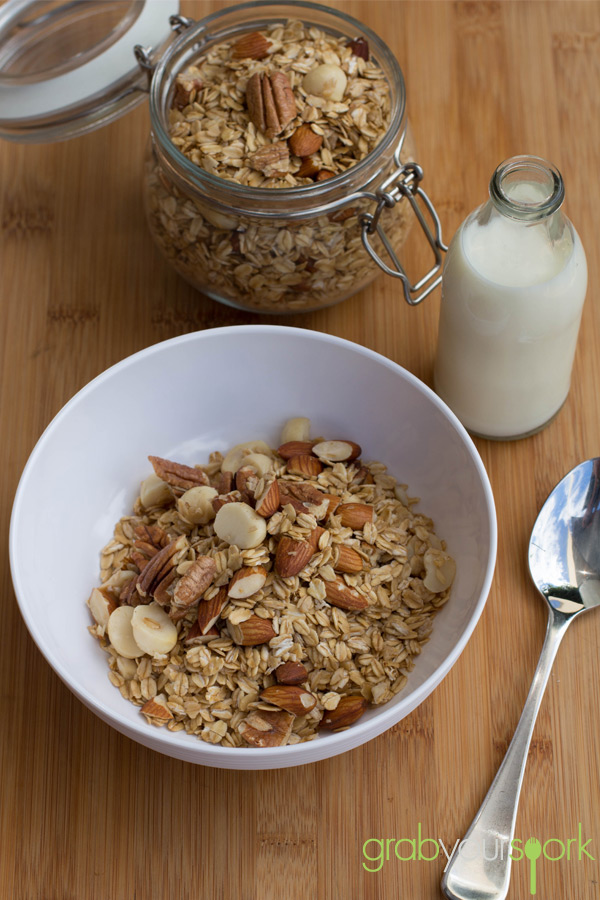 Maple Mixed Nut Granola with Milk