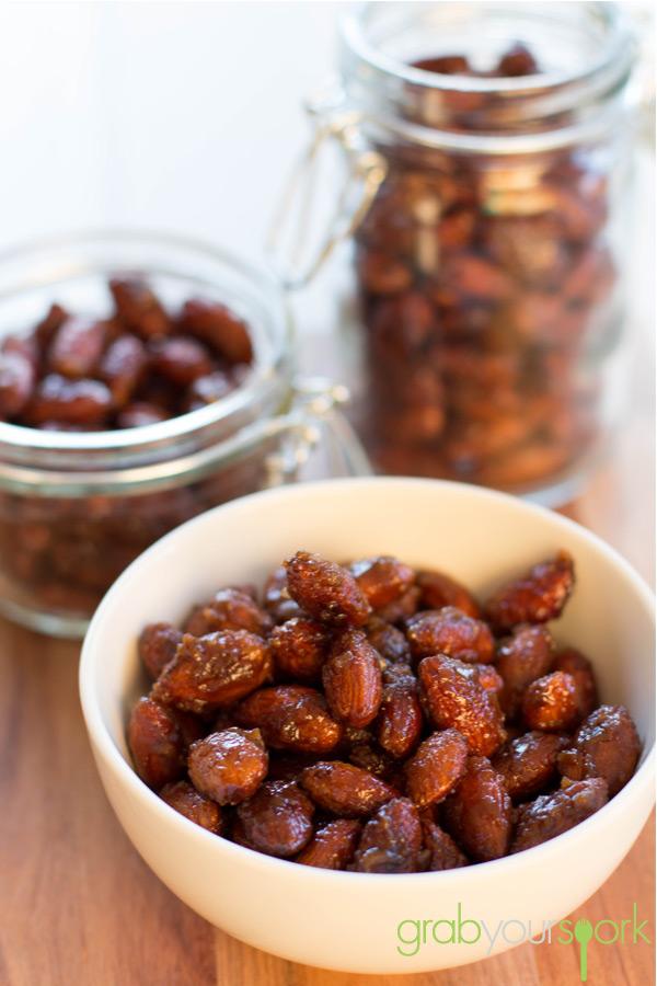 Bowl of Honey Ginger Almonds