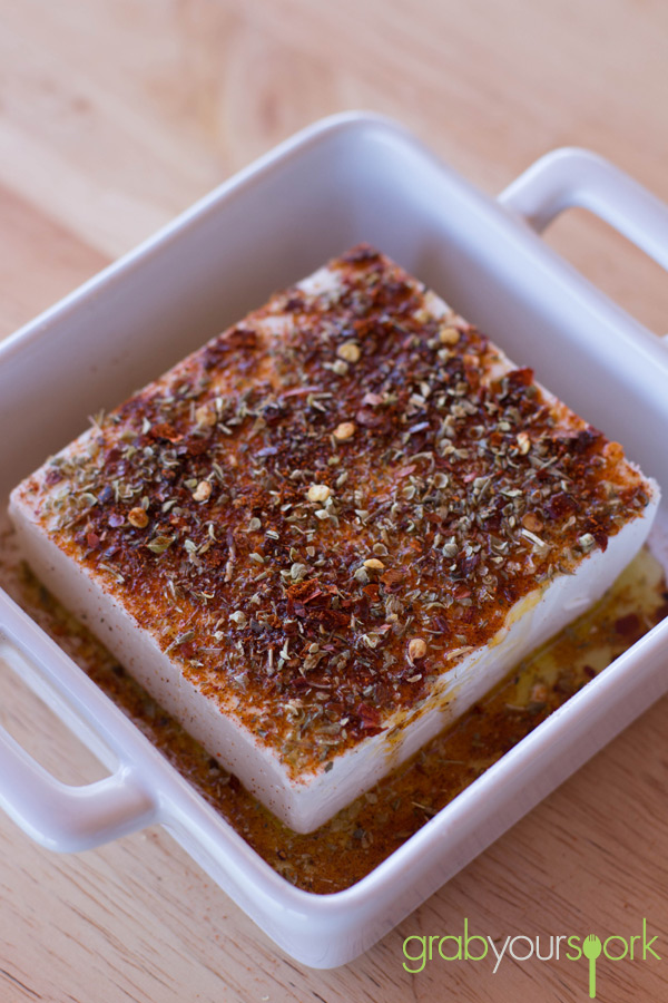baked feta with chilli and oregano and smoked paprika