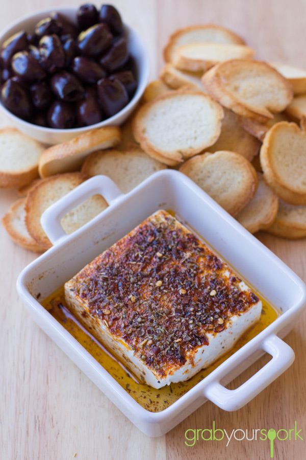 Baked Feta with bread crisps and olives