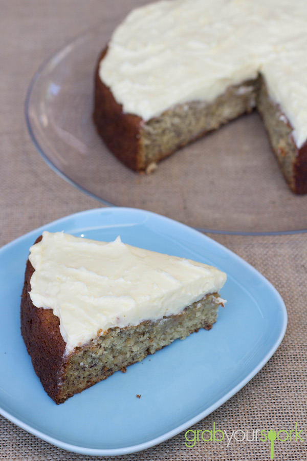 Slice of Banana Cake with cream cheese icing