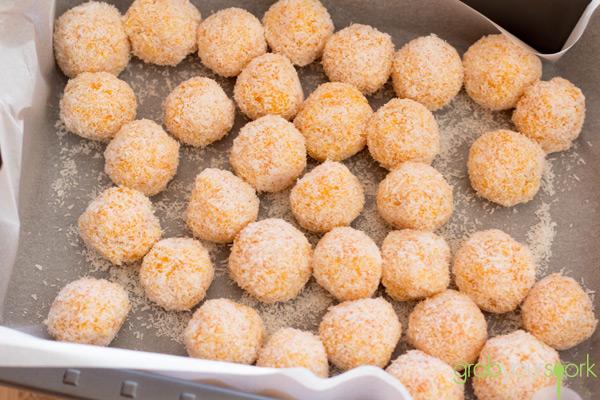 Tray of apricot balls