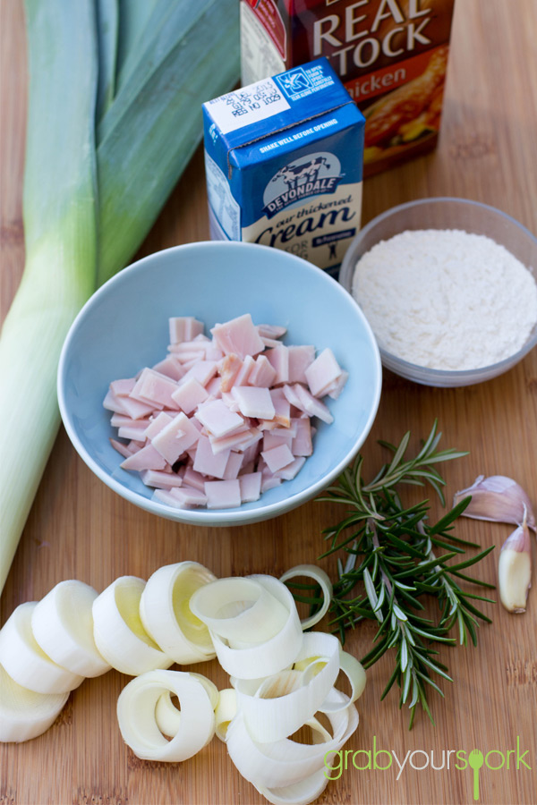 Chicken bacon and leek pie ingredients