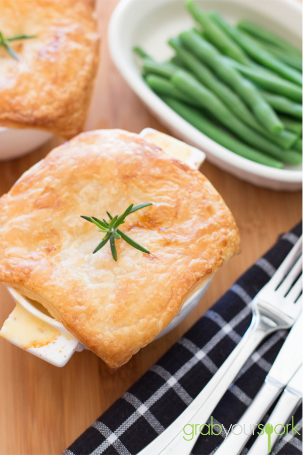 Chicken, bacon and leek pies with beans