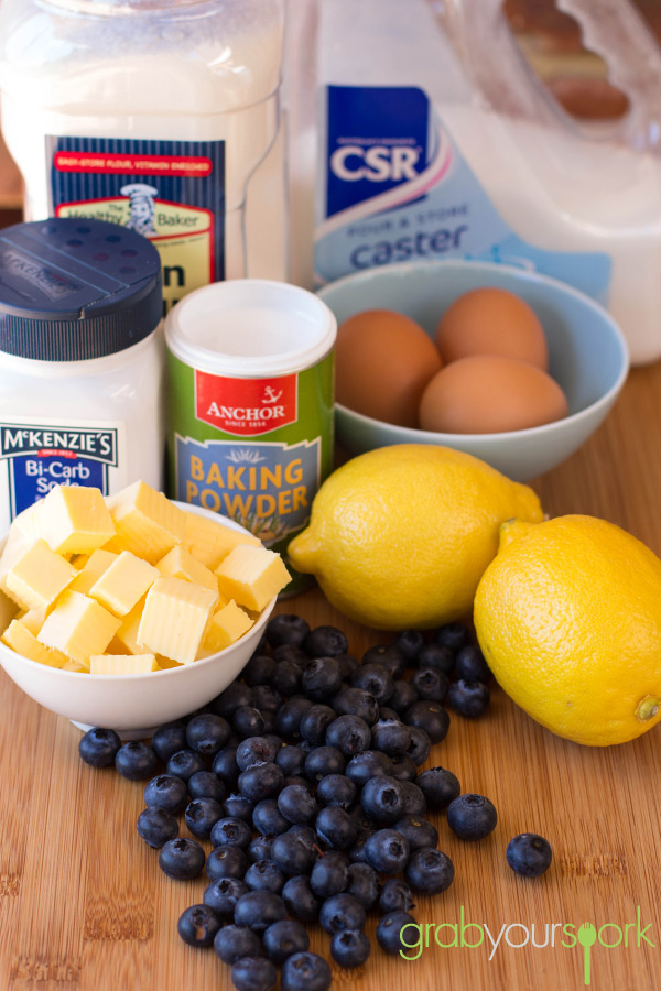 Blueberry and Lemon Cupcakes Ingredients