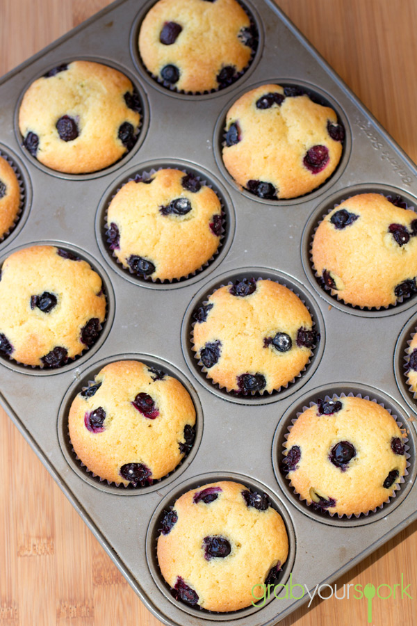 Tray of Blueberry and Lemon Cupcakes