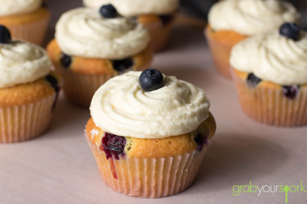 Blueberry and Lemon Cupcakes with Lemon Cream Cheese Icing