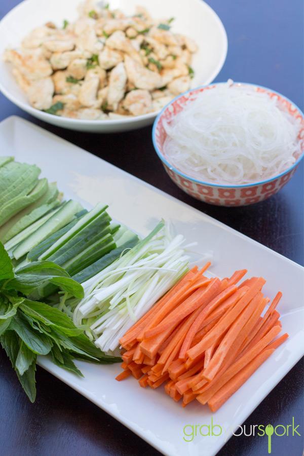 Vietnamese Rice Paper Rolls Ingredients Station