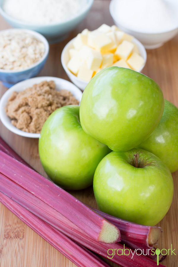 Apple and Rhubarb Crumble Ingredients