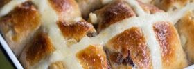 Apple and sultana hot cross buns