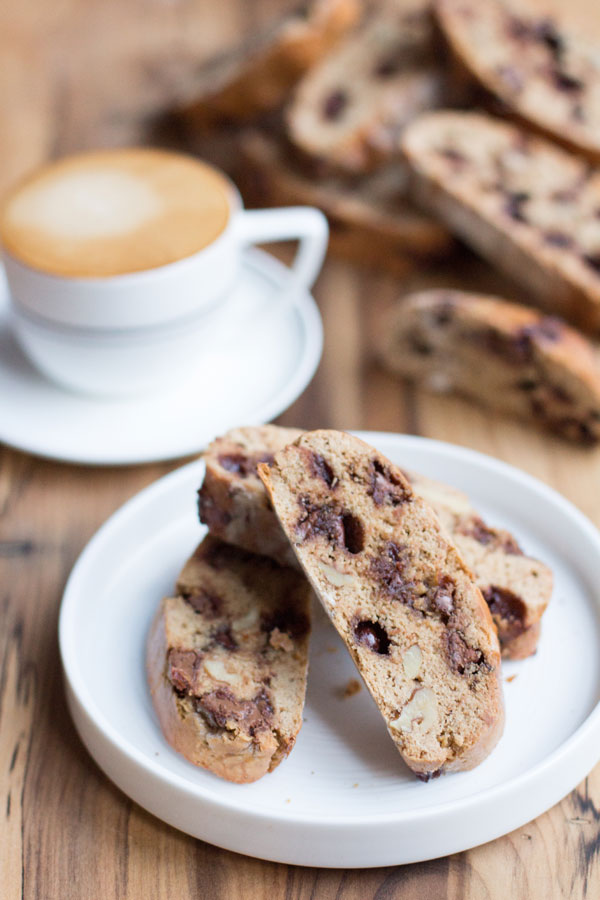 Choc chip coffee biscotti