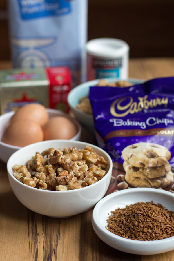 Choc chip coffee biscotti ingredients