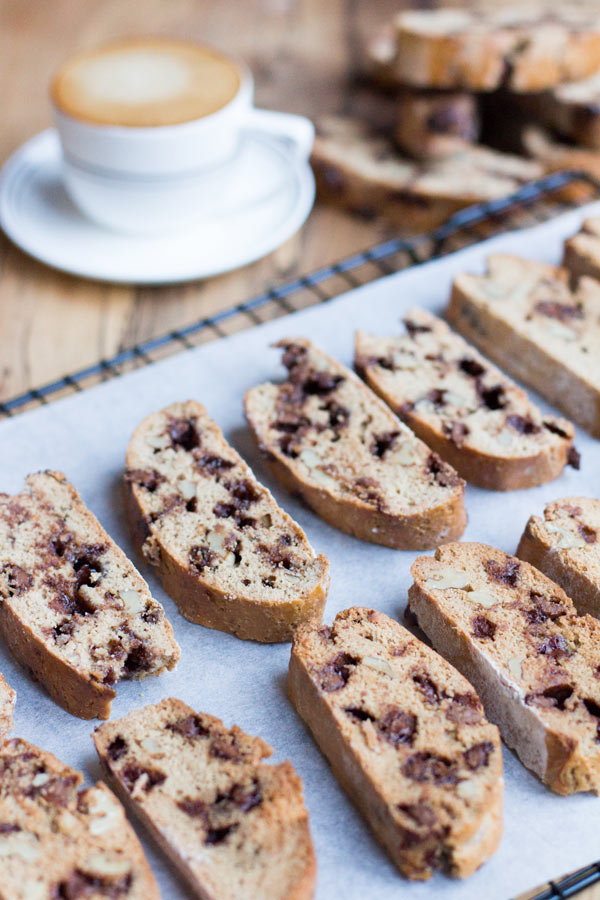 Chocolate chip coffee biscotti