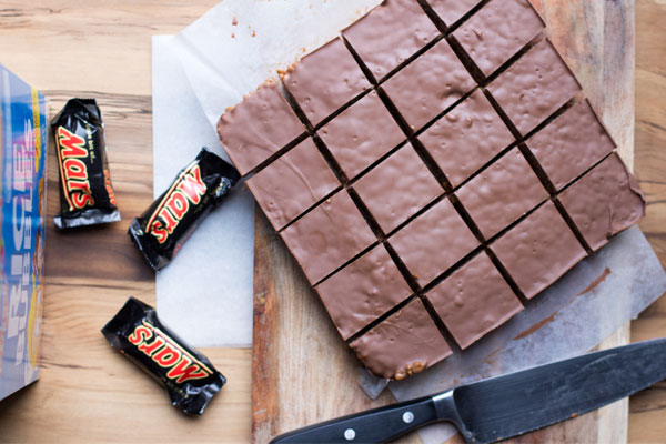 Sliced mars bar slice