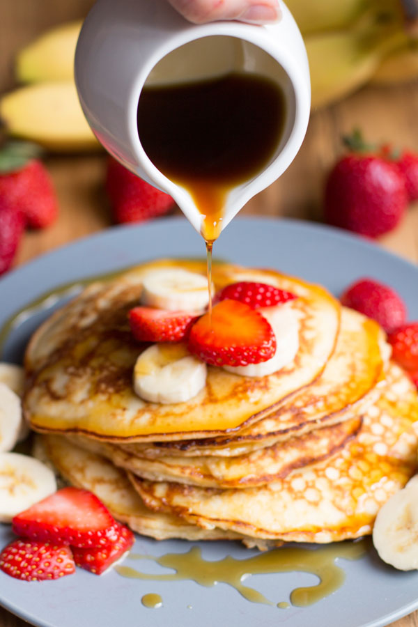 coconut flour pancakes with strawberries and banana
