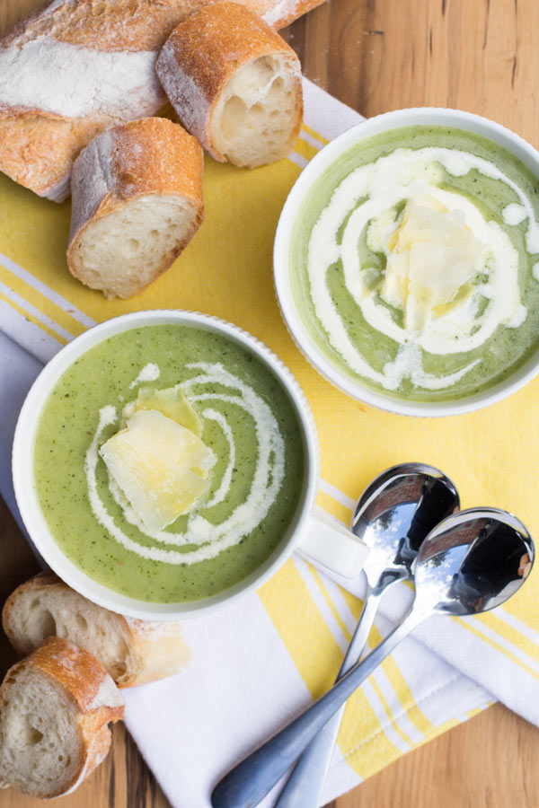 Two bowls of Healthy vegetarian zucchini soup